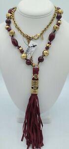 New Chico's Vienna Tassle - Burgundy Beads -Gold Tone Necklace