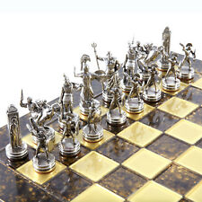 Manopoulos Greek Mythology Chess Set - Brass&Nickel - Brown chess Board