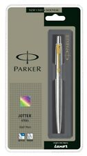 Parker Jotter SS Steel GT Gold Trim Ball Point Pen, Fine Nib, 0.8mm Blue Ink New