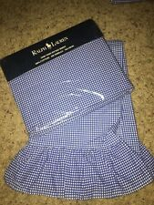 Ralph Lauren Gingham Plaid Nip Twin Fitted + Pillow Case Ruffled Blue Label