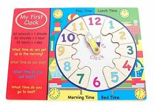 Wooden My First Clock Shape Finder Jigsaw Puzzle Pre-School Learning Time Toy