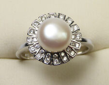 Beautiful Silver Dress Ring with Pearl and Cubic Zirconia, Size M (NEW) 2017844