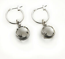 "Viking Rock Crystal Sterling Silver Earrings Height 1 1/2"", Width 1/2"""