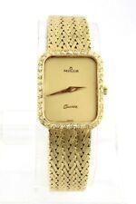 Elegante Milus Gelbgold Damen Uhr mit Diamant Besatz 750 18K Lady watch 25x21mm