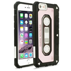 White/Black Cassette (Rose Gold Cover) Hybrid Protector Cover for iPhone 6s