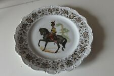 ANCIENNE ASSIETTE DECORATIVE CHEVAL CAVALIER SOLDAT WEIDESS BAVARIA