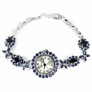 Watch Blue Sapphire Genuine Natural Gemstones Sterling Silver 71/2 Inch