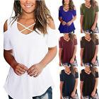 Women Loose Short Sleeve V Neck T Shirt Cold-shoulder Print Summer Tops Blouse