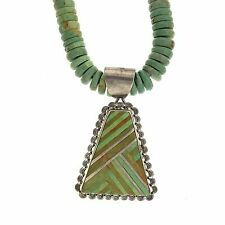 Santo Domingo N.P. Coriz Sterling Silver Turquoise Inlay Pendant Bead Necklace