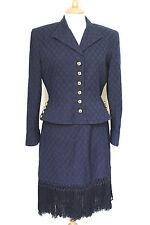 VALENTINO Navy blue gold tassel skirt suit US 10 UK 12