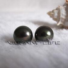 9.5-10.0mm Peacock Green Freshwater Pearl earrings Stud Earrings U