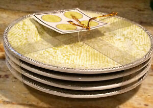 222 Fifth Pyton Lime Fine China Set of Four Appetizer Plates ~  NEW