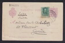 SPAIN 1926 UPRATED 15C POSTAL STATIONERY CARD SATANDER TO GENEVA SWITZERLAND