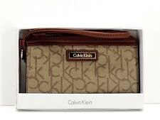 Calvin Klein Logo Wristlet Khaki Brown CK Logo Top Zip Clutch New! NWT
