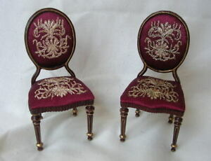 BESPAQ Mahogany RED EMBROIDERED SIDE CHAIRS PAIR Dollhouse Miniature 1/12 Scale