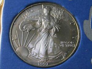 1997 American Silver Eagle in Paper Littleton Holder #31 - Better Date - Gem++++