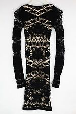 New Free People Intimately Women's Seamless Long Sleeve Cutout Dress Black XS/S