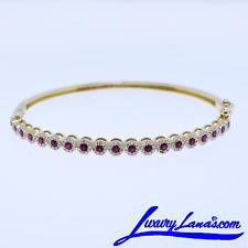 Women's 14K Yellow Gold Diamond Ruby Bangle Bracelet