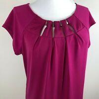 New York & Co 7th Ave Design Studio Women's Cap Sleeve Top Blouse Size M Pink