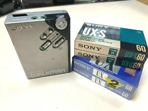Vintage Sony Walkman WM-2 WM2 and 4 Cassette Chrome Tapes UX UX-2 60 Min