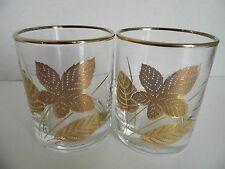 Vintage Libbey Rock Glasses Set 2 Pair Gold Leaf Whiskey Bar ware