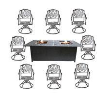 Fire pit dining table Cast Aluminum Propane Double Burner 9 Piece Outdoor Set