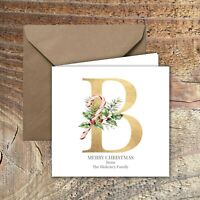 PERSONALISED CHRISTMAS CARDS, MONOGRAM DESIGN PACK OF 5