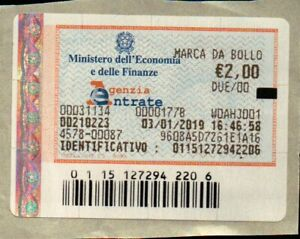 MARCA DA BOLLO DA € 2,00 - 03/01/2019 - AD USO COLLEZIONISTICO -