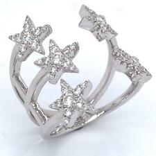 0.65 TCW Round Diamonds Stars Ring In Solid 14k White Gold Size 6.75