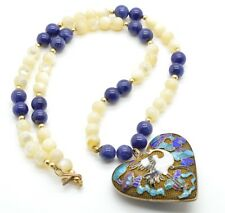 Vintage Signed MJ Necklace Large Cloisonné Heart Pendant Lapis Mother Of Pearl