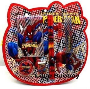 Kids Marvel Spiderman 8Pcs Stationary Set Pencil Case Rubber School Gift UK NEW