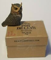 Harmony Ball Kingdom POT BELLYS Figurine Great Horned Owl Trinket Box w/Guitar
