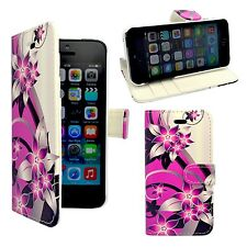FOR APPLE IPHONE 4/4S PINK AND CREAM FLOWER PRINT DESIGN PU LEATHER WALLET CASE