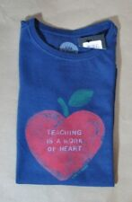 Life is Good Teaching a Work of Heart XS Classic Fit NWT Blue Red Heart Apple