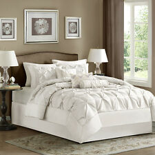 New! Elegant Chic Soft White Pleated Pin Tuck Tufted Ruched Ruffle Comforter Set