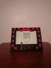 """Valentines Day Photo Frame says """"Love"""" Red white ribbon Poly resin NWT"""