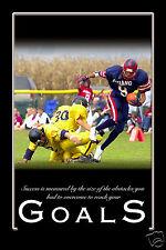 American Football Grid Iron 'Goals' Motivational Poster 9x6 Inch