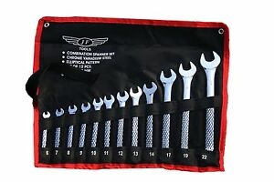 12 Pc Metric 6-22mm Mirror Finish Combination Spanner Set In Tool Roll