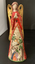 Collectible Christmas Ceramic Angel Figure Nativity Scene Carved in Angel Skirt