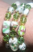 Memory Wire Wrap Bracelet With  Green & White Color Toned Glass Beads  Handmade