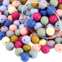 Round Silicone Beads Baby Teething Necklace Jewelry Teether Toys Making BPA Free