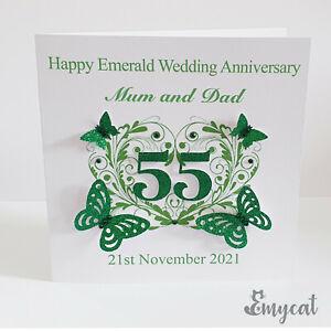 Personalised Handmade Emerald 55th Wedding Anniversary Card **Free UK P&P**