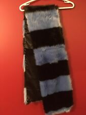 TIF & TIFFY Women's Blue/Black Striped Faux Fur Scarf - NWT