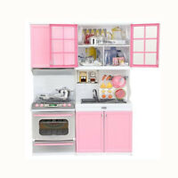 Xmas Gift Mini Kids Kitchen Pretend Play Cooking Set Cabinet Stove Girls Toy