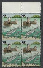 TONGA SG1615 2010 30s on 55s DUCKS & GREY MULLET BLOCK OF 4 MNH CREASE IN MARGIN