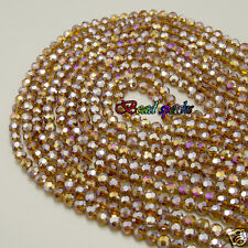 One Strand 6 mm AB Dark Brown Faceted Round Glass Crystal Beads -CQ243