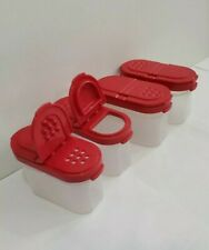 New Tupperware Small Spice Set of 4 Shaker Red Seals Condiment Container Season