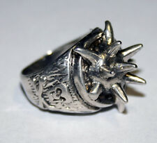 Vintage G&S Sterling Silver Plated Outlaw Spikes Skull Biker Ring Sizes 8,9