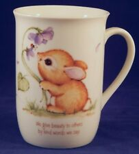 Bunny Rabbit & Flowers Cup Mug We Give Beauty to Others by the Kind Words We Say