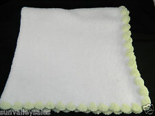 Sprockets Baby White Chenille Baby Blanket Green Scalloped Trim